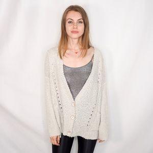 Free People Popcorn Loose Granny Sweater Cardi 440
